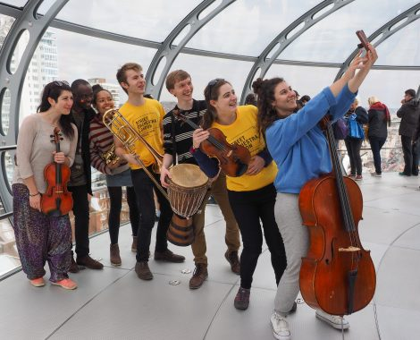 Street Orchestra of London play at the British Airways i360 Brighton. 13th April 2017